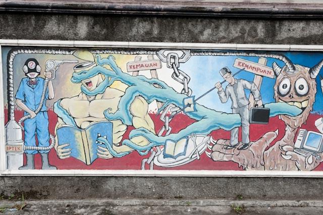 Fresque murale, Yogyakarta, Java © ppc