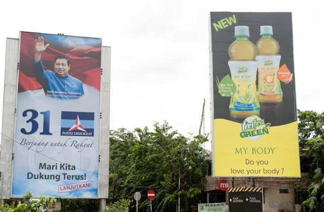 Deux produits électoraux ? SBY et huile de palme, Djakarta © ppc