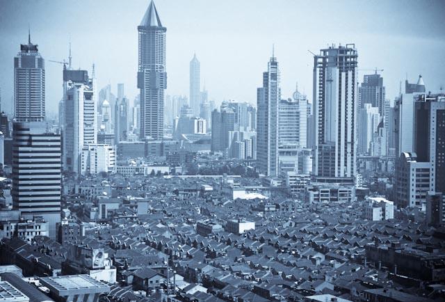 Shanghai, vue de Puxi, 2003 © ppc