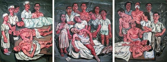 Zeng Fanzhi, Hospital Triptych N°2, 1992 ©Studio Zeng Fanzhi