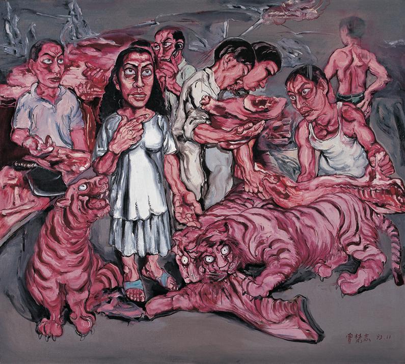Zeng Fanzhi, Man & Meat, 200 × 180cm 1993