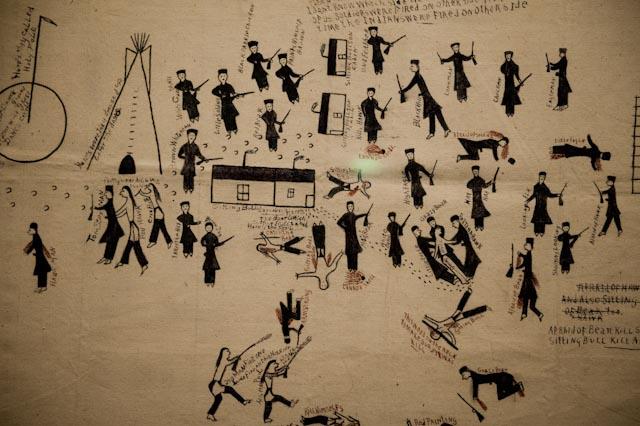 Dessin réalisé par Thomas Stone Man, un policier Dakota ayant participé à l'arrestation de Sitting Bull (vers 1920) © quai Branly / photo PPC