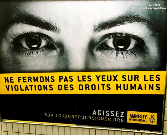 Ne fermons pas les yeux, Métro parisien, 2016 © www.philippepataudcélérier.com