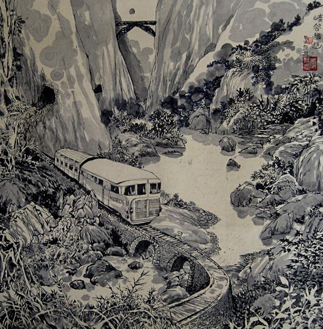 Le sifflement du train dans la vallée 峡谷笛声 © Li Kunwu, 2015, 156 X 156 cm