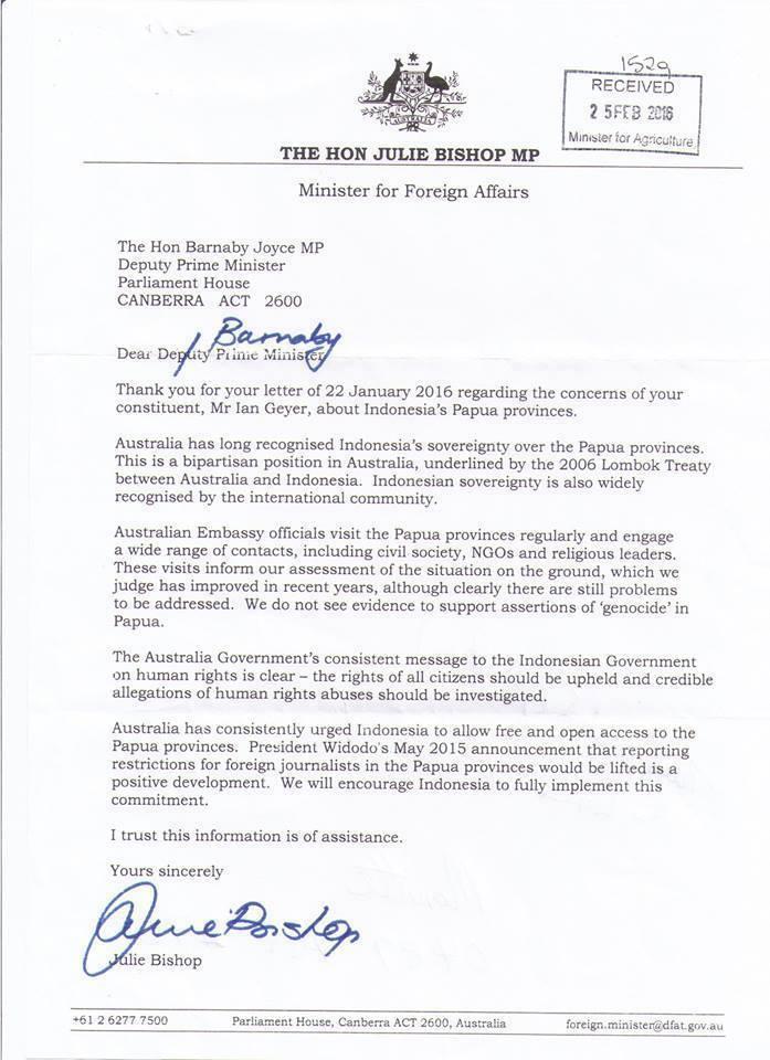 Lettre du Premier Ministre australien, Julie Bishop