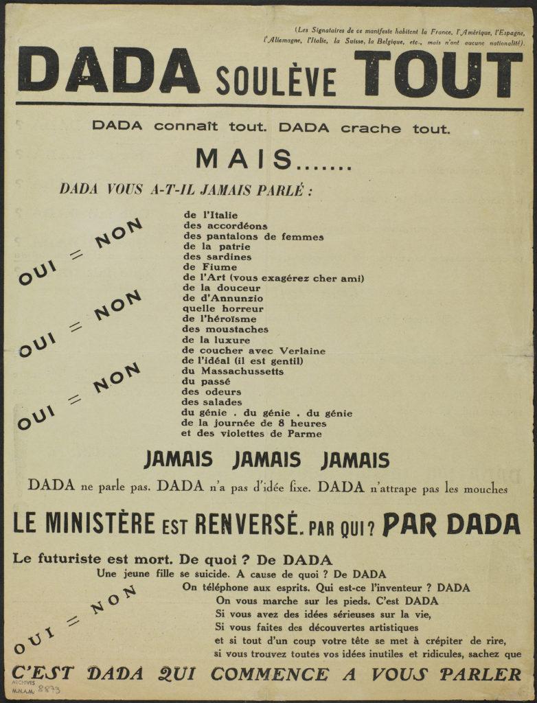 Philippe Soupault, Dada soulève tout, 1921 Tract imprimé sur papier